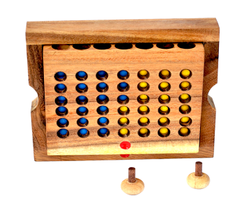 connect four small wooden box, strategy game for 2 player , size 17,5 x 12,8 x 3,0 cm, connect 4 in wooden box Monkey Pod thai wooden games
