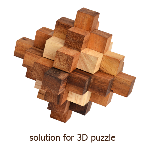 solution for 3D puzzles from samanea wood