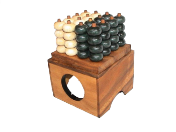 Connect Four 4x4 Bingo 3D thai wooden games and puzzle chiang mai 12,0 x 11,8 x 8,2 cm, connect 4 in wooden box Monkey Pod