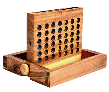 connect four large wooden box, strategy game for 2 player , size 19,5 x 15,5 x 3,5 cm, connect 4 in wooden box Monkey Pod thai wooden games